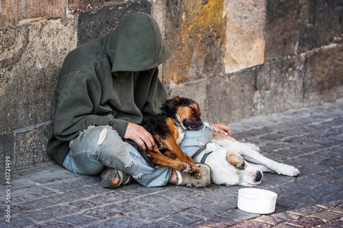 beggar with two Dogs near Charles Bridge, Prague Canvas Print