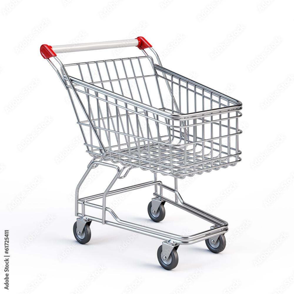 Fotografia Supermarket shopping cart isolated on white