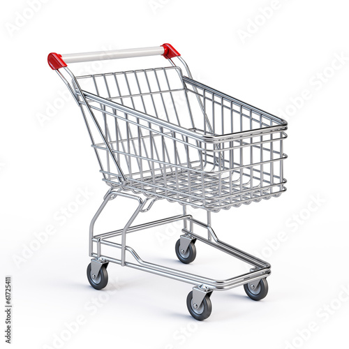 Supermarket shopping cart isolated on white Fototapeta