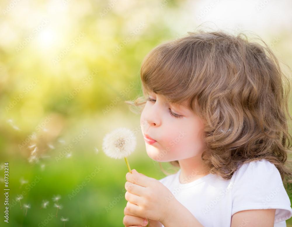 Fototapety, obrazy: Happy child blowing dandelion