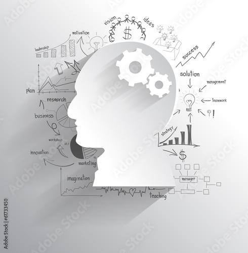 Vector human head with set of gears as a brain idea - 61733450