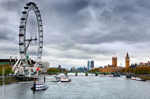 Poster Londres London, England the UK skyline. Big Ben, River Thames