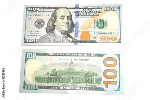 Back and Front of an American 100 Dollar Bill - Buy this ... 100 Dollar Bill 2013 Back