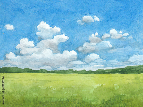 Spoed Foto op Canvas Blauw Watercolor illustration of rural landscape