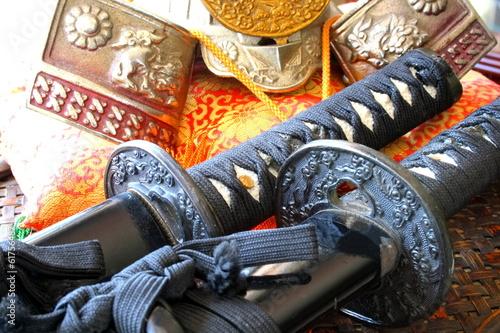 Samurai swords and helmet Poster