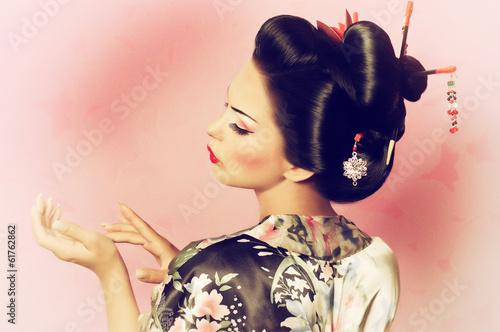 Fotografie, Tablou Portrait of a Japanese geisha woman