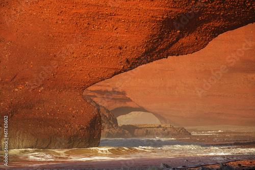 Poster Maroc Legzira stone arches, Atlantic Ocean, Morocco, Africa