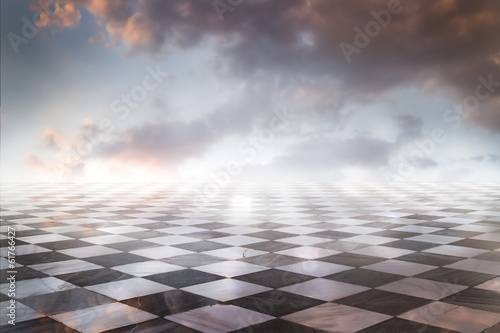 Fototapeta Gamero chess, pieces marble floor