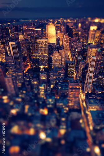 Fototapeta New York Manhattan at night with soft focus