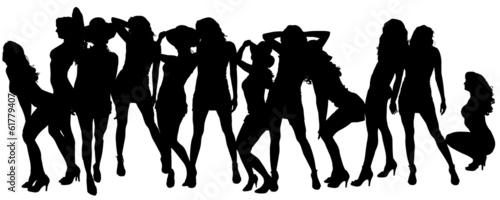 Deurstickers Dance School Vector silhouettes of sexy women.