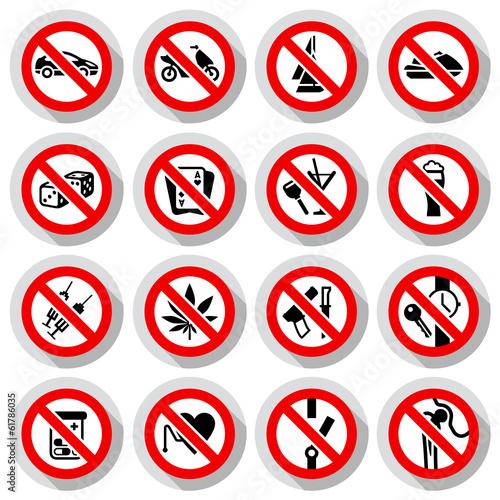 Fotografía  Set Prohibited symbols on paper stickers