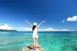 Leinwanddruck Bild - 南国沖縄の美しいビーチと女性