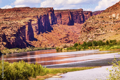 Fotografie, Obraz  Colorado River Rock Canyon Reflection Near Arches Moab Utah