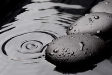 Zen Stones On Wet Background