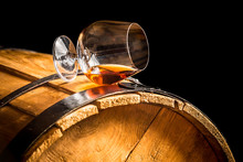 Glass Of Cognac On The Vintage...