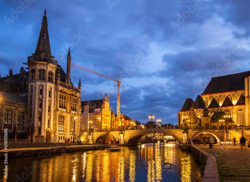 Deurstickers Brugge Sint Michiels bridge, Ghent