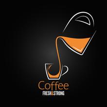 Coffee Cup Glass Pot Design Ba...