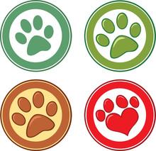 Dog Paw In Circle. Set Collection