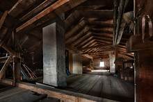 Old Wooden Attic With Roof Fra...
