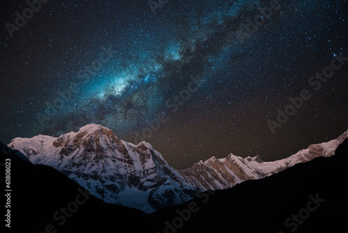Foto op Canvas Nepal Night shot of Annapurna Range with Milky way.