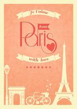 Love Paris Vintage Retro Poster