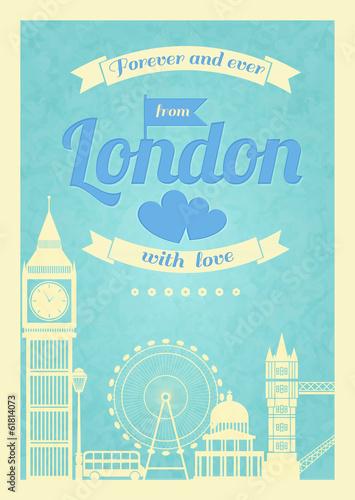milosc-londyn-rocznika-retro-plakat