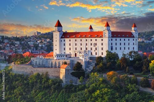 Bratislava castle at sunset, Slovakia Canvas Print