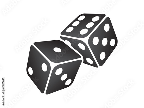 Vector illustration of two black dice Fototapeta