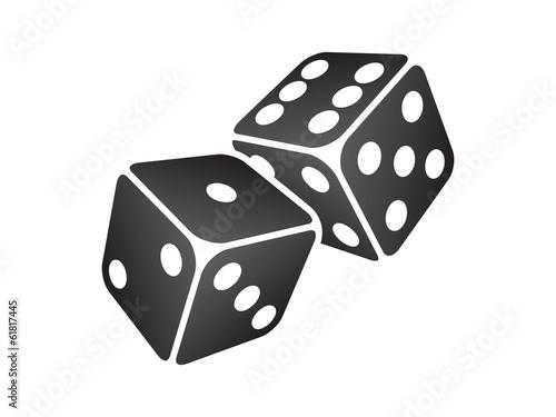 Vector illustration of two black dice Wallpaper Mural