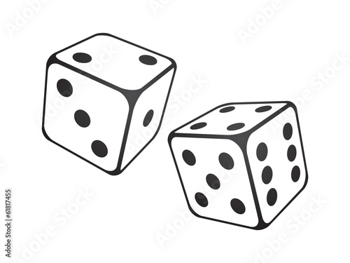 Vector illustration of  dice on the white background Poster Mural XXL