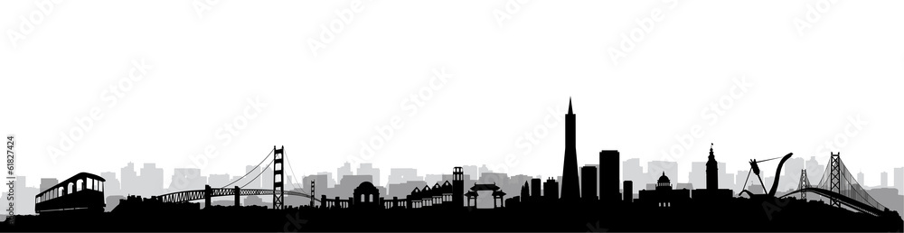 Fotografie, Obraz San Francisco Skyline Silhouette vector