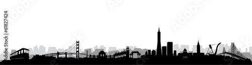 San Francisco Skyline Silhouette vector Wallpaper Mural