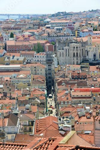 Photo  Santa Justa Elevator aerial view, Baixa district, Lisbon