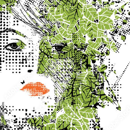 In de dag Vrouw gezicht abstract floral woman