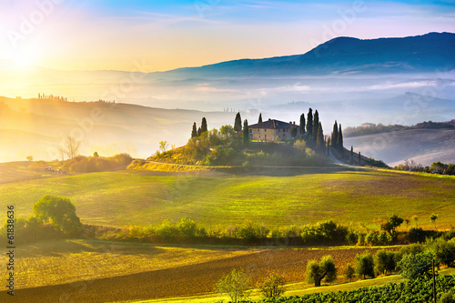 Printed kitchen splashbacks Beige Tuscany at sunrise