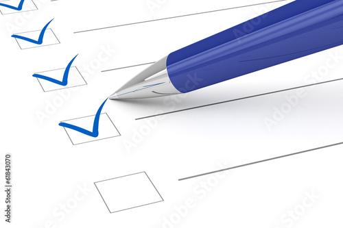 Fotografie, Obraz  Checklist paper and pen.