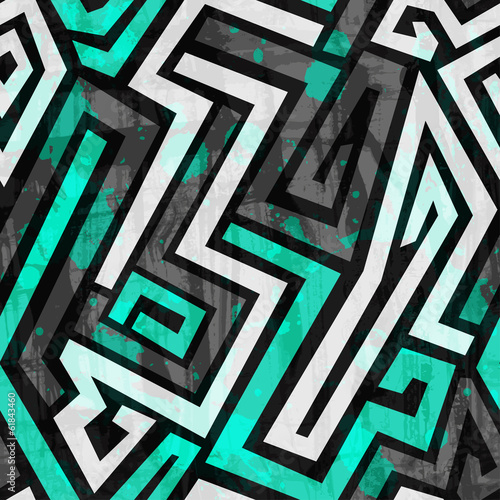 Naklejka dekoracyjna urban blue maze seamless pattern with grunge effect