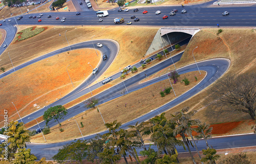 Road infrastructure in Brasilia, the capital of Brazil.