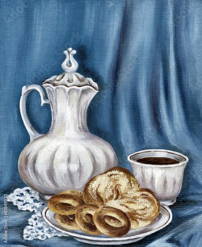 malowanie-dzbanek-chleb-i-filizanka-kawy
