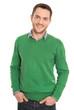 canvas print picture - Attraktiver Business Mann freigestellt in grün weiß