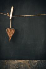 Wooden Heart On Blackboard For Text