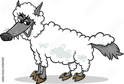 Photo wolf in sheeps clothing cartoon