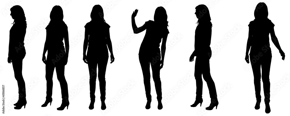 Fototapeta Vector silhouette of a woman.