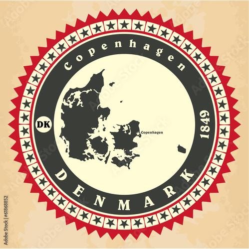Vintage label-sticker cards of Denmark. Poster