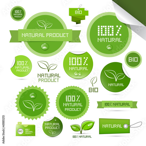 Fotografie, Obraz  Natural Product Green Labels - Tags - Stickers Set