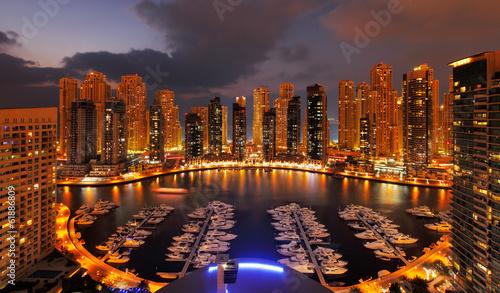 Foto-Kassettenrollo premium - Dubai Marina at Dusk showing numerous skyscrapers