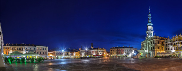 Night panorama of the Old City in Zamosc, Poland.