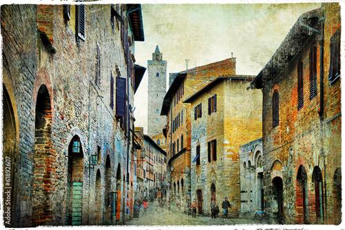 Obraz w ramie medieval Tuscany. Streets of San Gimignano