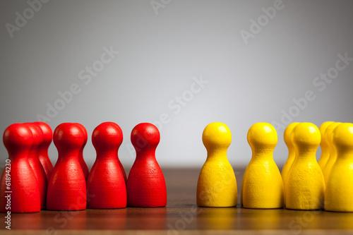Obraz na plátně Opposition groups concept, toy pawn figures