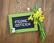 canvas print picture - Kleine Tafel mit Fruehlingsblumen